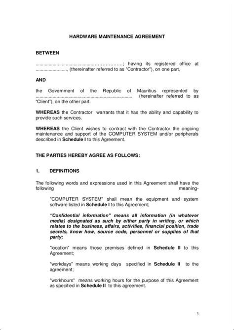 maintenance contract templates   ms word