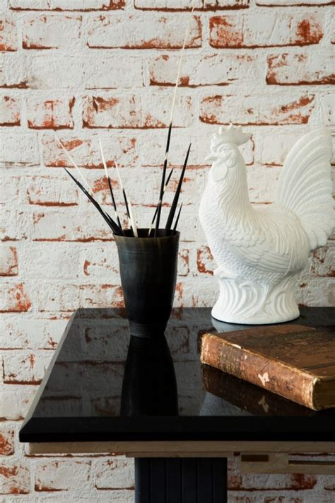 red white washed brick wallpaper   www
