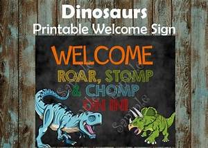 Dinosaur Birthday Party Invitations Dinosaurs Welcome Sign Printable Dinosaurs Chalkboard