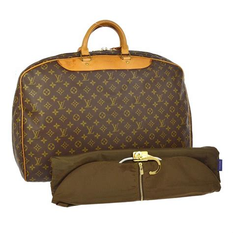 louis vuitton alize  heures brown monogram canvas leather weekendtravel bag tradesy