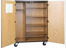 Locking Mobile Wardrobe Storage Closet 4 Adj Shelves, 66