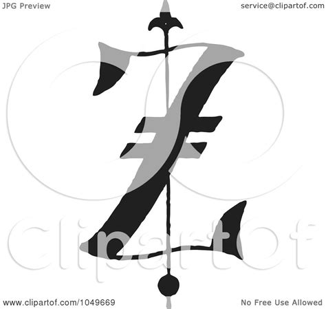 royalty free rf clip illustration of a black and white abc letter z by