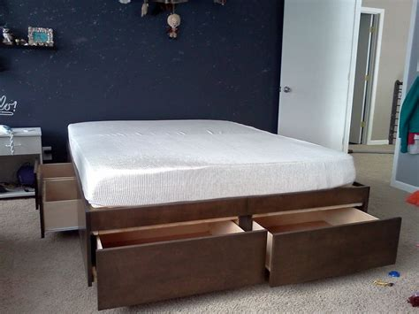 bed l with outlet perfect queen platform beds with storage best oak bed