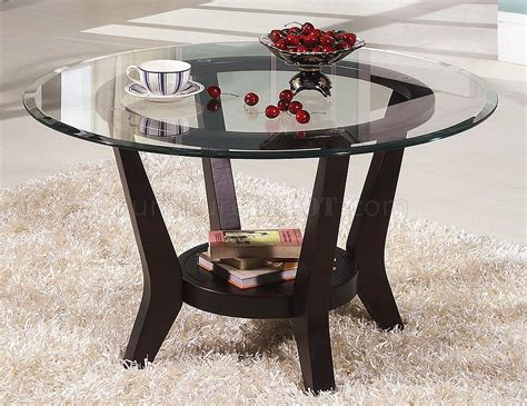 Brown Cherry Coffee Table & End Tables 3pc Set W/clear