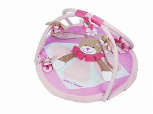 doudou et compagnie tapis d39eveil lapin rose o90 cm With tapis chambre bébé avec doudou lapin fleur