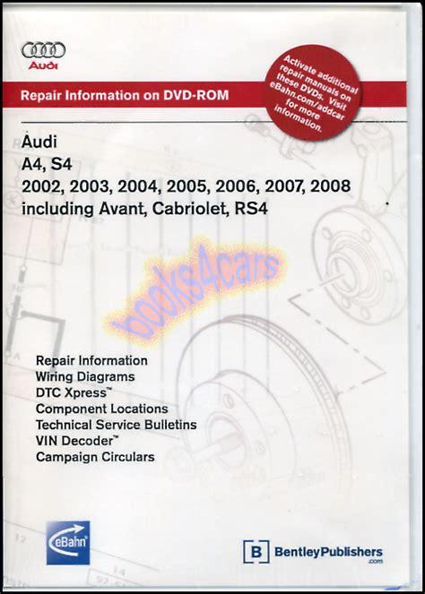 manual repair autos 1996 audi cabriolet spare parts catalogs audi a4 s4 shop service repair manual dvd cd cabriolet quattro avant rs4 02 08 ebay