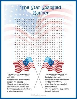 star spangled banner word search puzzle  puzzles