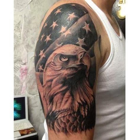 black  grey american flag  bald eagle tattoo  sleeve tattoos  watson sleeve