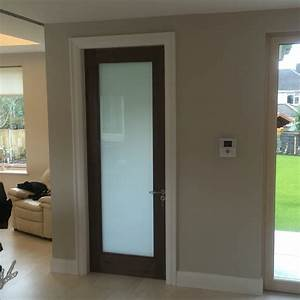 walnut internal door with frosted glass internal doors With frosted glass bathroom entry door