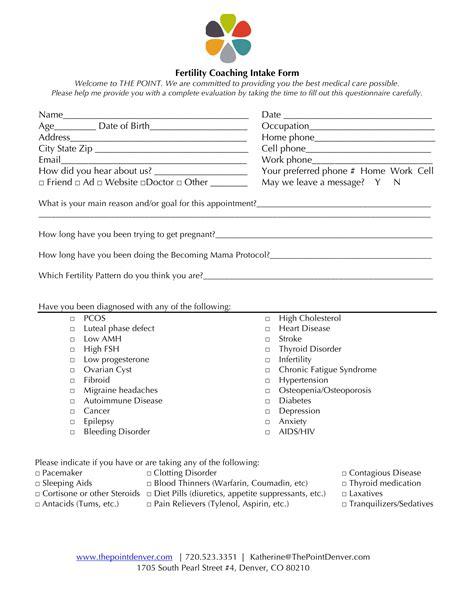 coaching intake forms   ms word