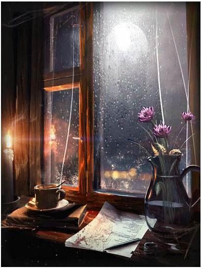 Night Rainy Stormy Outside Animated Cozy Morning