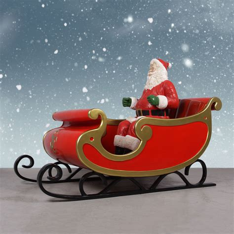 Jumbo Sleigh With Santa  81in Santa's Sleigh Display