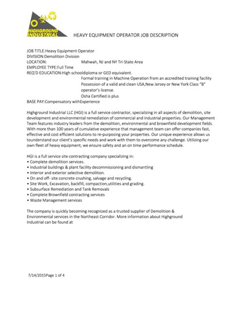 heavy equipment operator job description printable