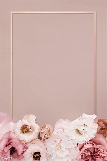 Pink Floral Frame Gold Rose Background Rectangle
