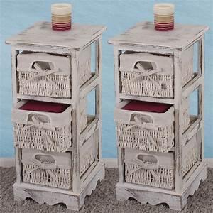 Vintage Regal Weiß : regal kommode mit korbschubladen shabby look vintage ~ Watch28wear.com Haus und Dekorationen