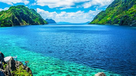 palawan philippines  scenic view   sea  mountain