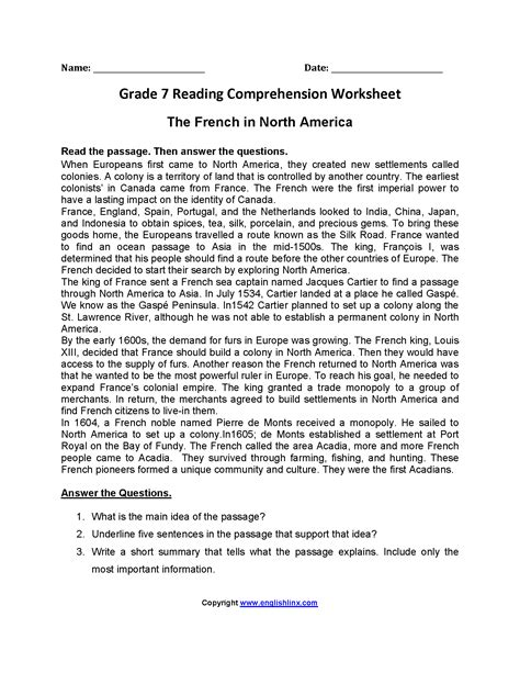 french  north america seventh grade reading worksheets