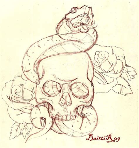 Snake and Skull Tattoo Designs Drawings