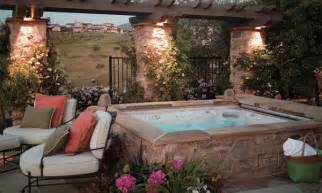 backyard patio ideas with tub landscaping