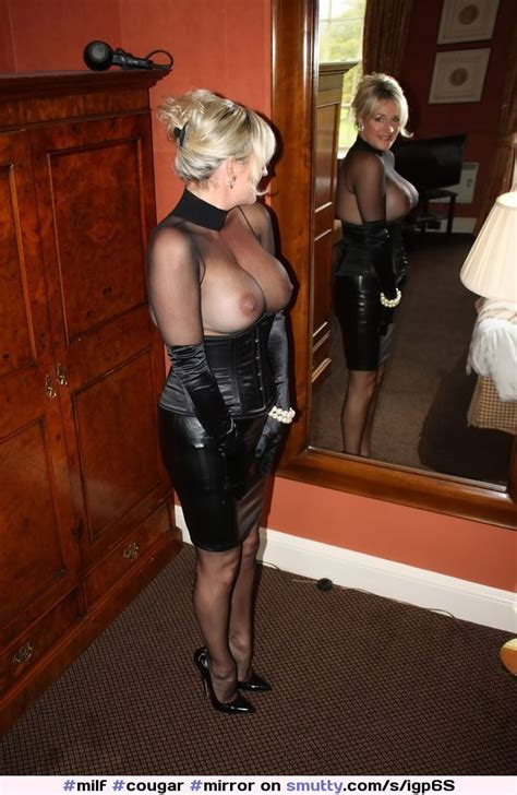Milf Cougar Mirror Artisic Bigboobs Bigtits Tits Lingerie Leather Skirt Heels