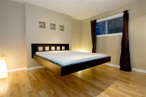 wooden furniture suspended beds modern bedroom design ideas with cool black wood floating