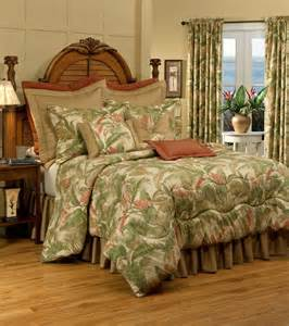 4pc tranquil green gold ivory tropical plant 100 cotton comforter set cal king