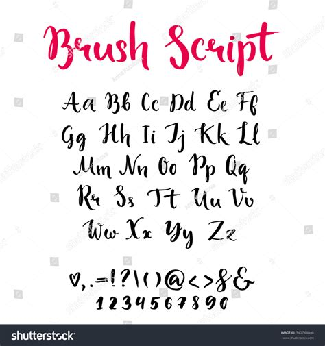 brush lettering alphabet brush script lowercase uppercase letters keystrokes stock 22082