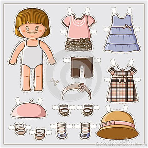 cute paper doll stock vector image