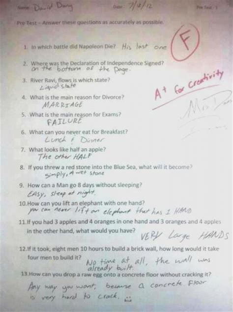 Creative Exam Answers  The Bangshiftcom Forums