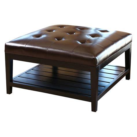 brown square ottoman abbyson living villagio tufted leather square coffee table 1839