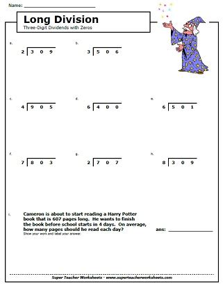 long division worksheets  grade