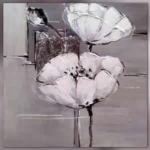 Toile Blanche A Peindre : fleurs blanches sur format carr ~ Premium-room.com Idées de Décoration