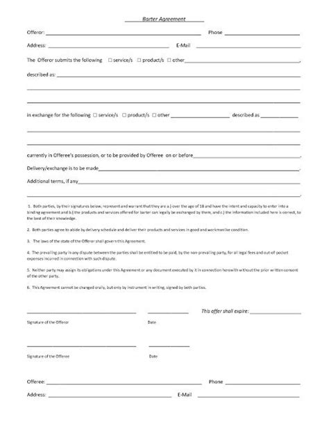 sample barter agreement contract template barter
