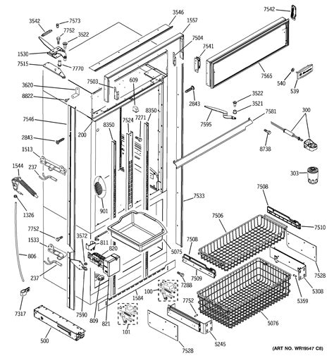 assembly view  freezer section trim components
