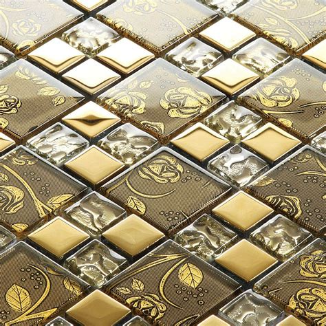 decorative kitchen wall tiles gold glass mosaic tile painted gold plated 6503