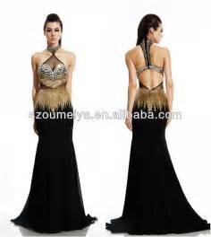 black and gold bridesmaid dresses oumeiya oep792 chiffon halter mermaid beaded black and gold prom dress 2014 in prom dresses
