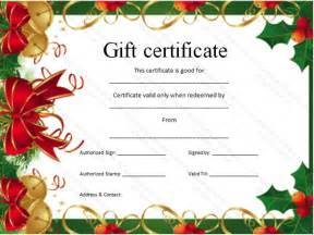 christmas gift certificate template certificate templates