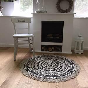 Vintage Teppich Rund : teppich boho i rund 90 cm fransen ethno vintage landhaus ~ Indierocktalk.com Haus und Dekorationen