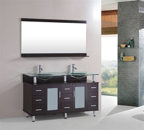 Vanity In - 60 inch tempered glass sink bathroom vanity cabinet