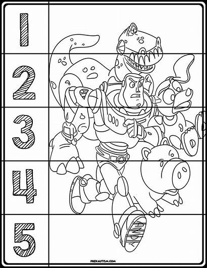 Toy Story Number Puzzles Prekautism Coloring Rompecabezas