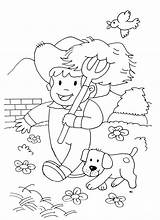 Coloring Farm Farmer Animals Dog Kid Pages Simple Horses Children Drawing Adult Animal Horse Justcolor sketch template