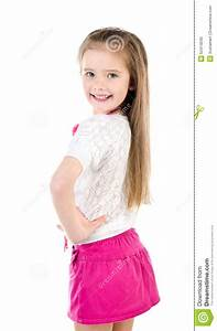 Happy Cute Little Girl In Skirt With Bag And Beads Stock Photo - Image 52414040