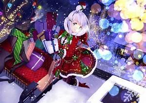 Anime, Anime, Girls, Santa, Costume, Christmas, Original, Characters, Wallpapers, Hd, Desktop, And