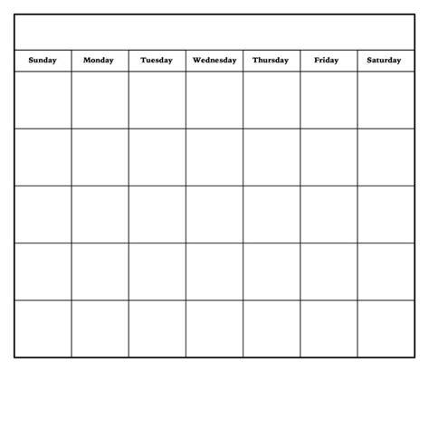 Blank Calendar Outline