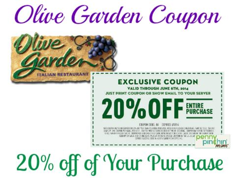 save 20 of your purchase at olive garden