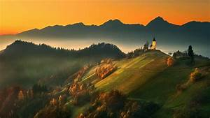 Nature, Landscape, Mountain, Fall, Forest, Mist, Sunset