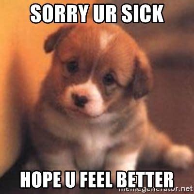 Feel Better Meme - sorry ur sick hope u feel better cute puppy meme generator