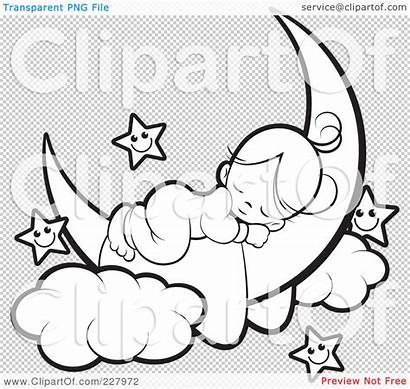 Moon Sleeping Coloring Outline Crescent Stars Clipart