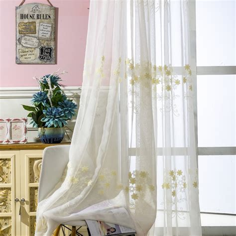 soul white embroidery yellow flower curtain rural