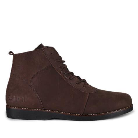 jual sepatu pria sauqi brodo brown boots kulit pull